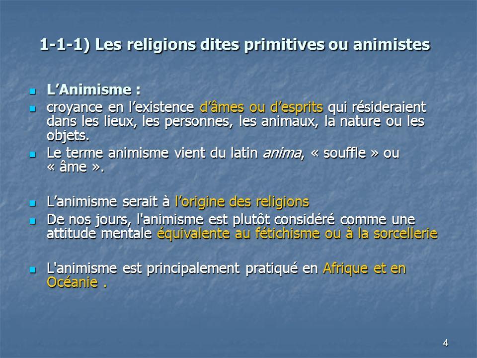 1-1-1) Les religions dites primitives ou animistes