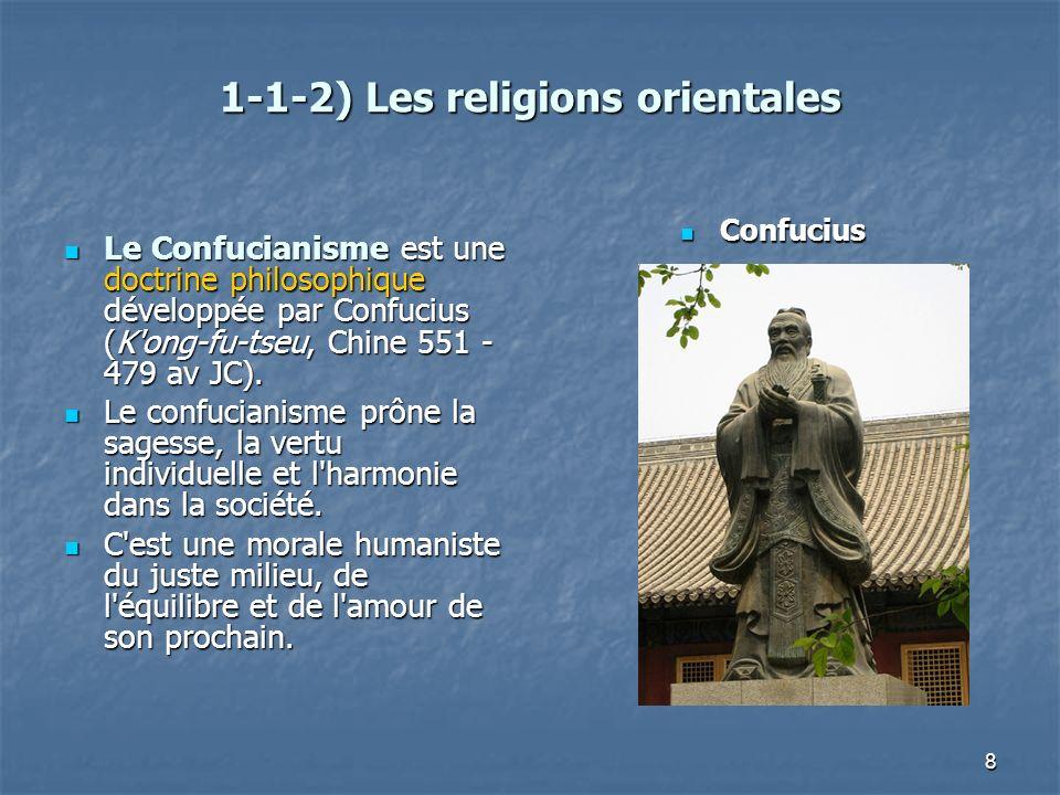 1-1-2) Les religions orientales