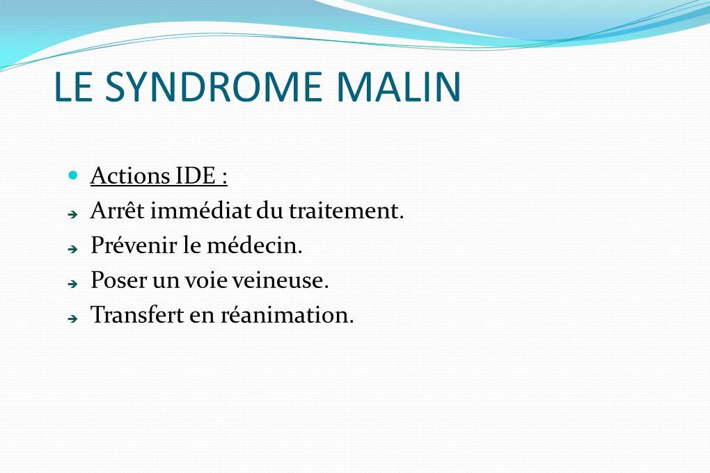 LE SYNDROME MALIN Actions IDE : Arrêt immédiat du traitement.