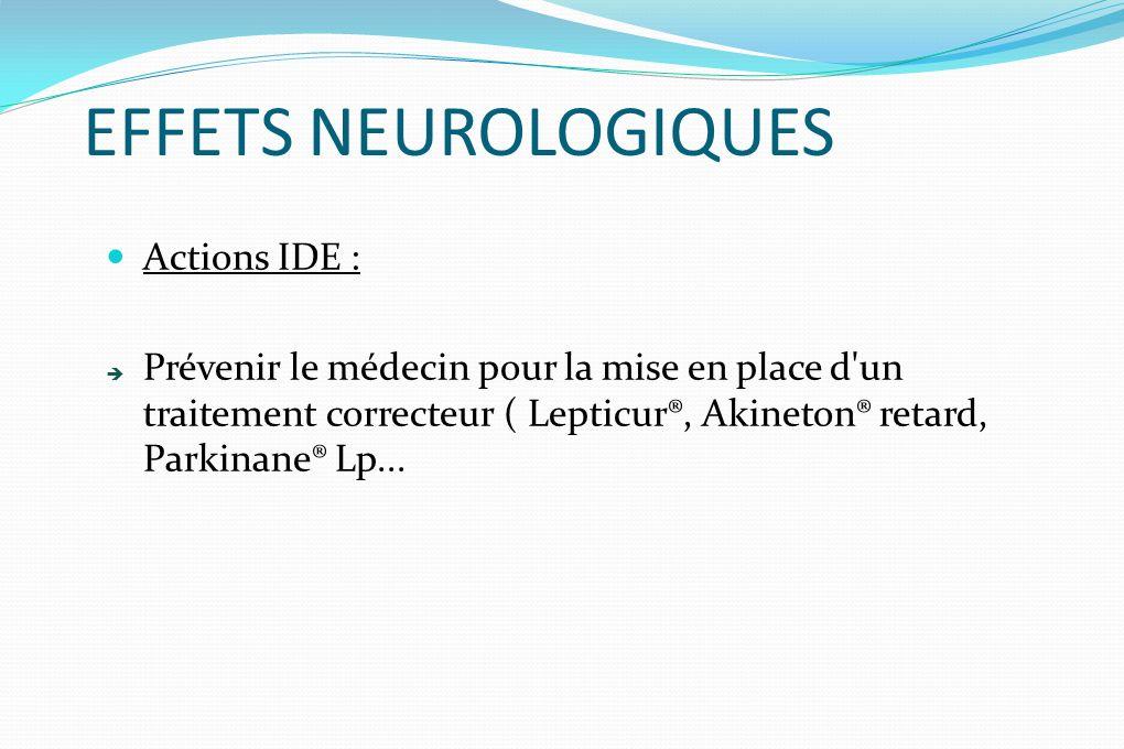 EFFETS NEUROLOGIQUES Actions IDE :