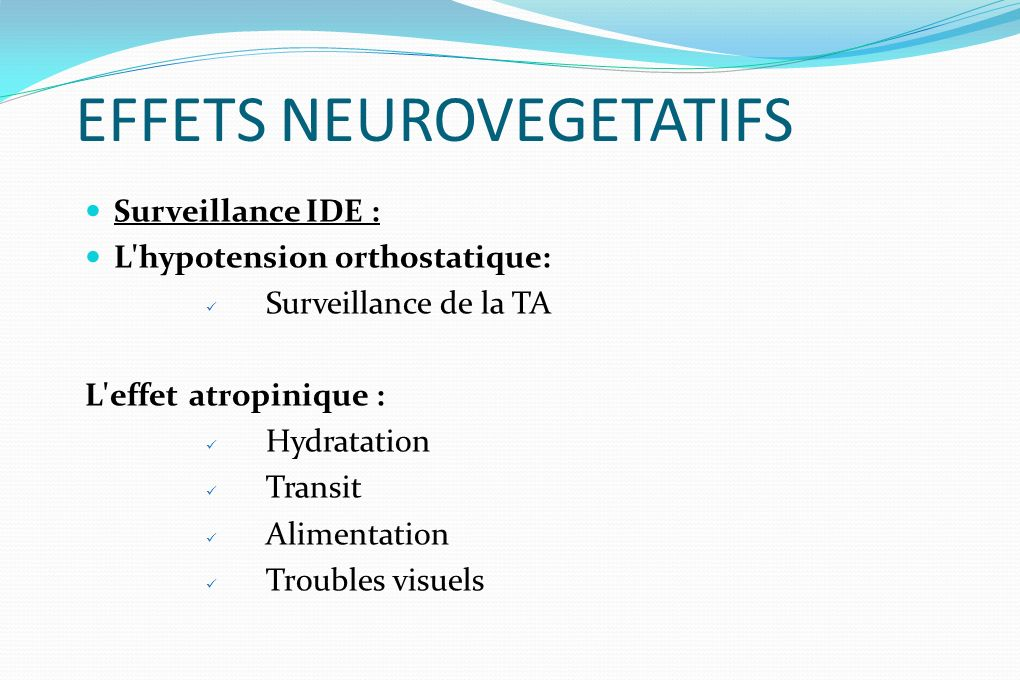 EFFETS NEUROVEGETATIFS