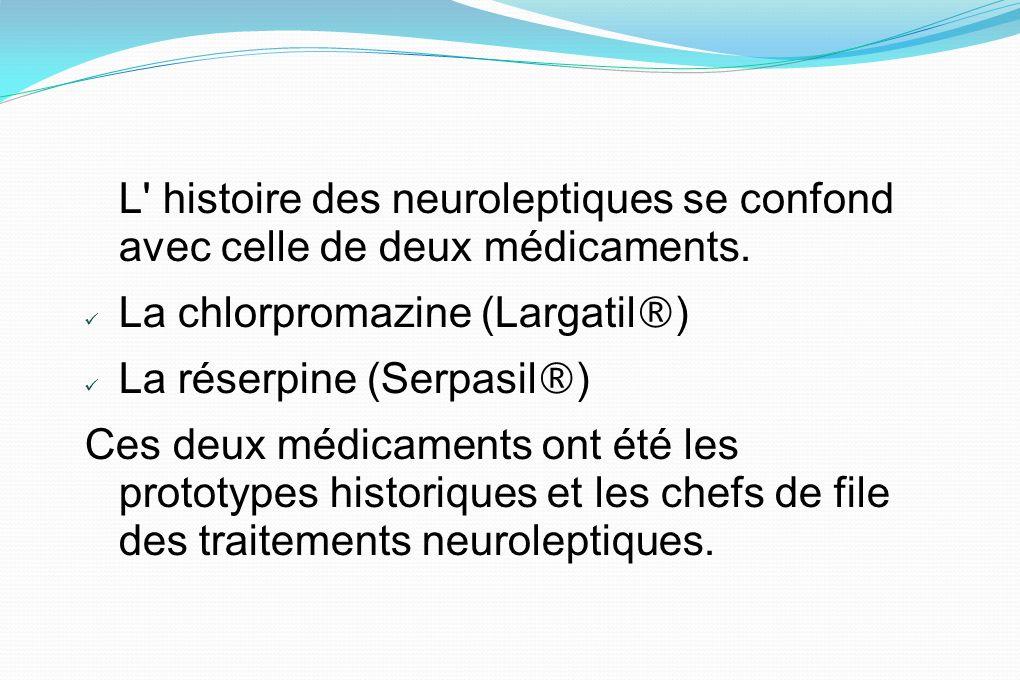 La chlorpromazine (Largatil®) La réserpine (Serpasil®)