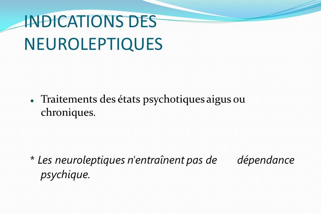INDICATIONS DES NEUROLEPTIQUES