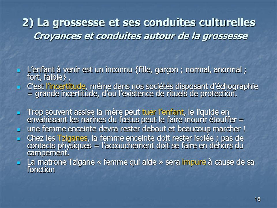 2) La grossesse et ses conduites culturelles Croyances et conduites autour de la grossesse