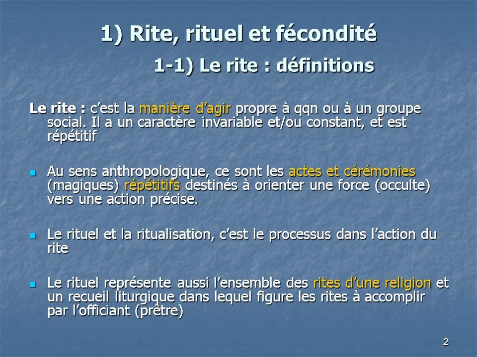 1) Rite, rituel et fécondité 1-1) Le rite : définitions