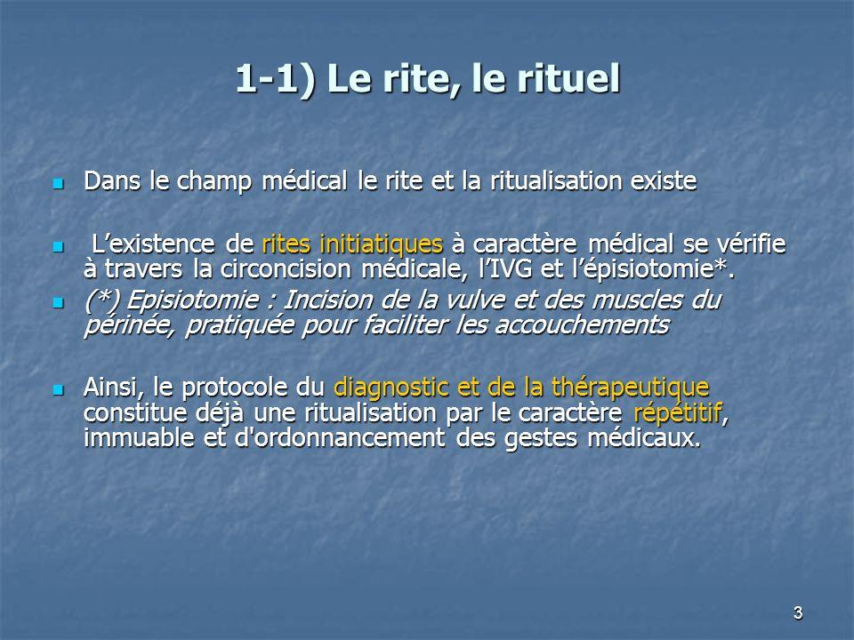 1-1) Le rite, le rituel Dans le champ médical le rite et la ritualisation existe.
