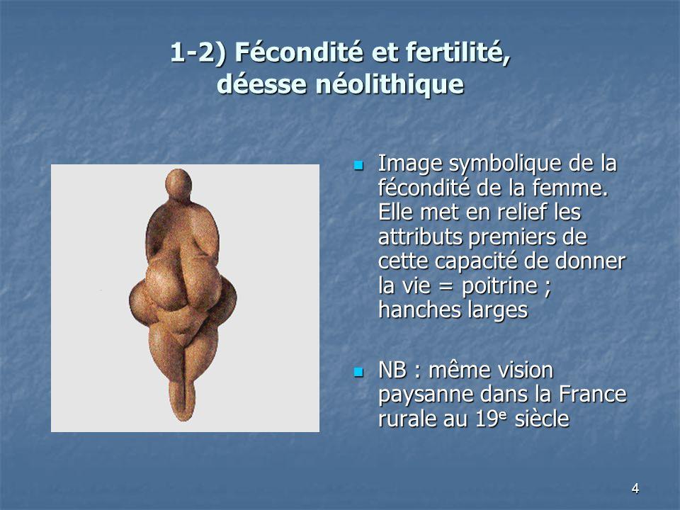 1-2) Fécondité et fertilité, déesse néolithique