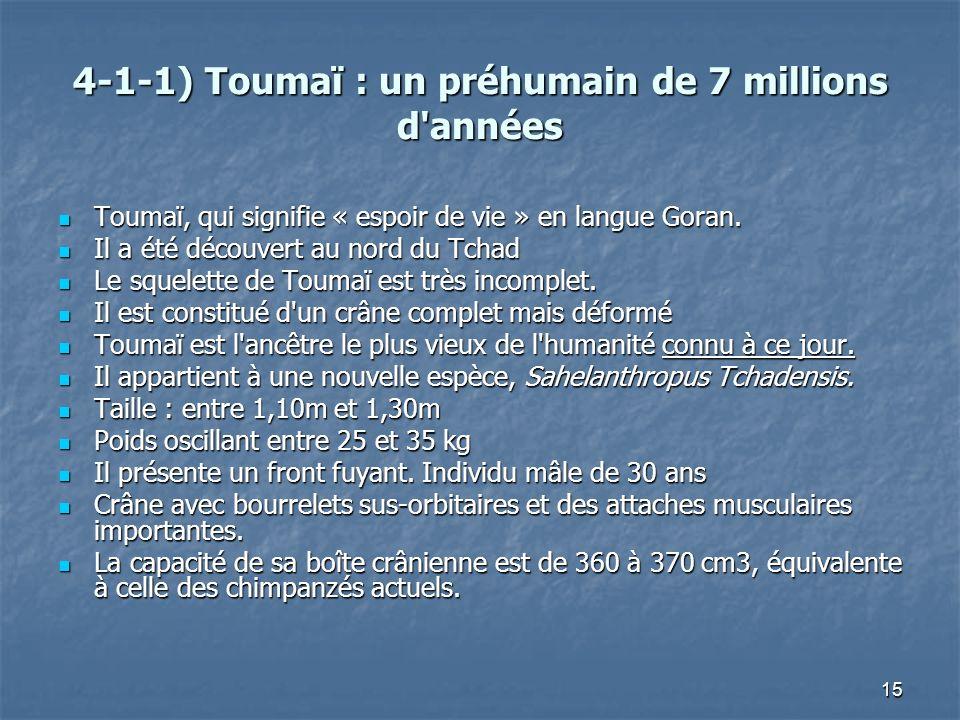 4-1-1) Toumaï : un préhumain de 7 millions d années