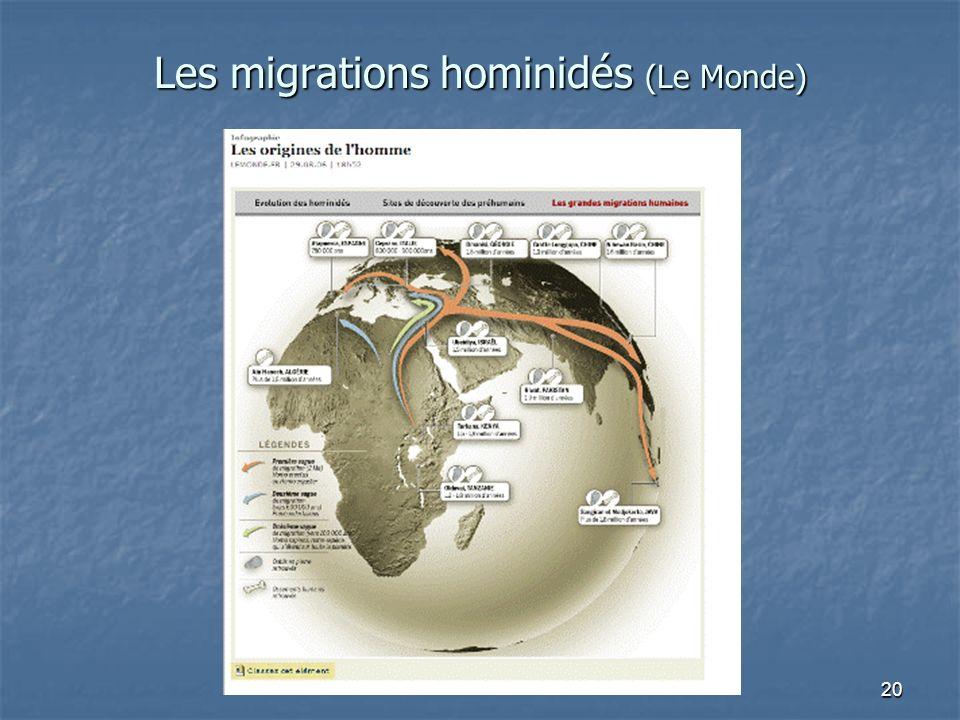 Les migrations hominidés (Le Monde)