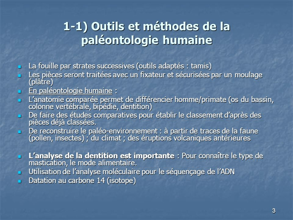 1-1) Outils et méthodes de la paléontologie humaine