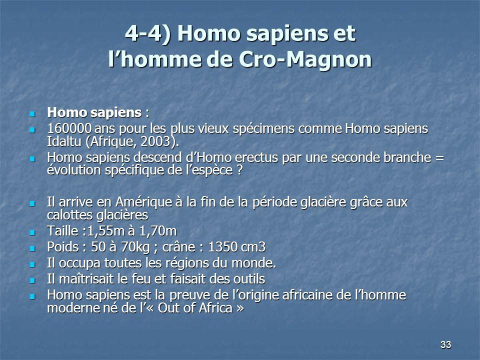 4-4) Homo sapiens et l'homme de Cro-Magnon