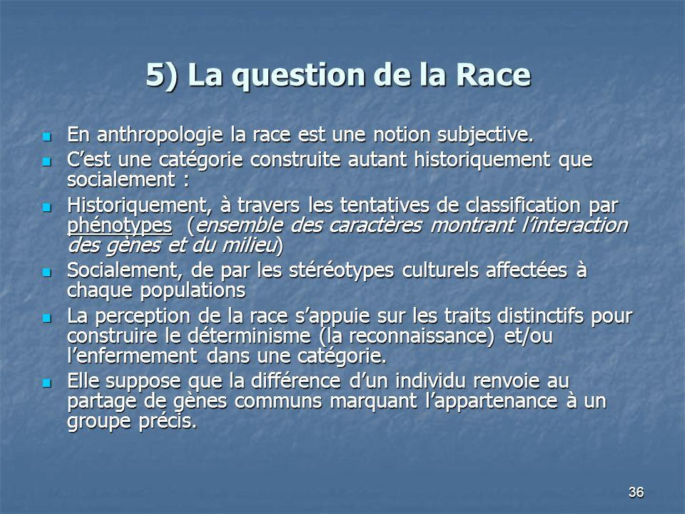 5) La question de la Race En anthropologie la race est une notion subjective. C'est une catégorie construite autant historiquement que socialement :