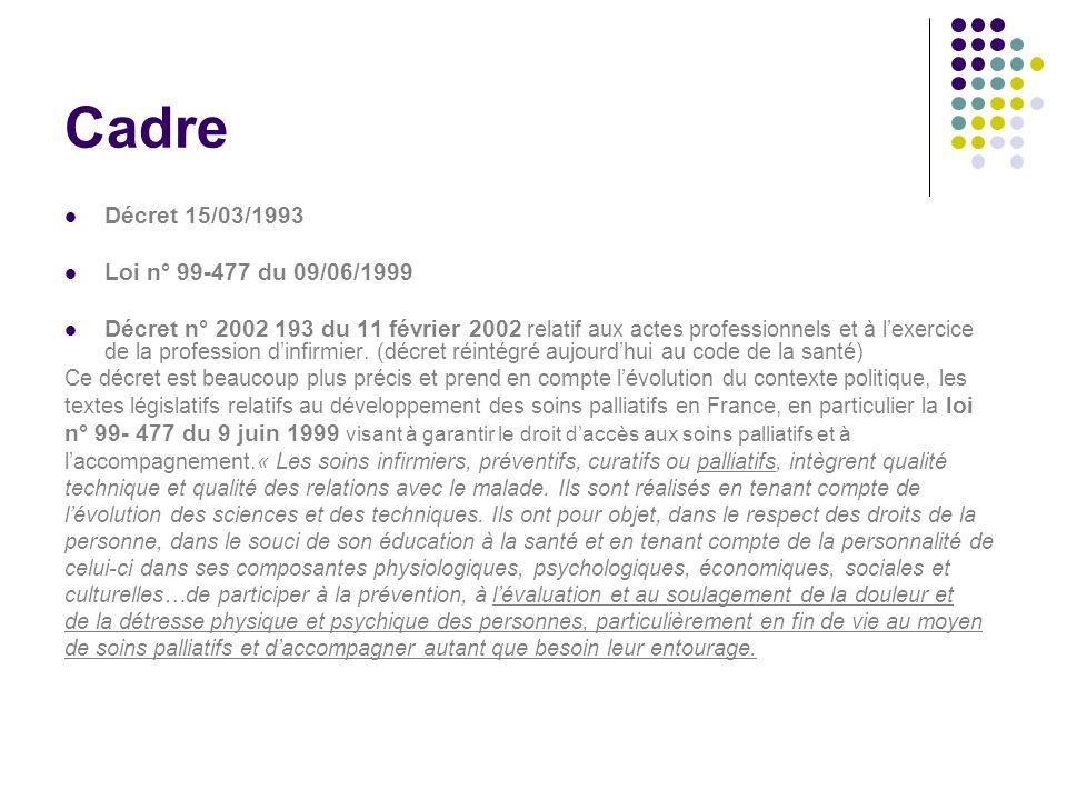 Cadre Décret 15/03/1993 Loi n° 99-477 du 09/06/1999
