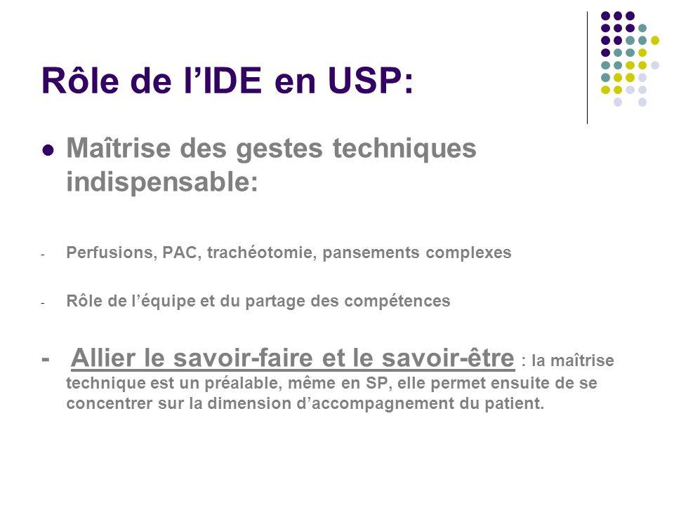 Rôle de l'IDE en USP: Maîtrise des gestes techniques indispensable: