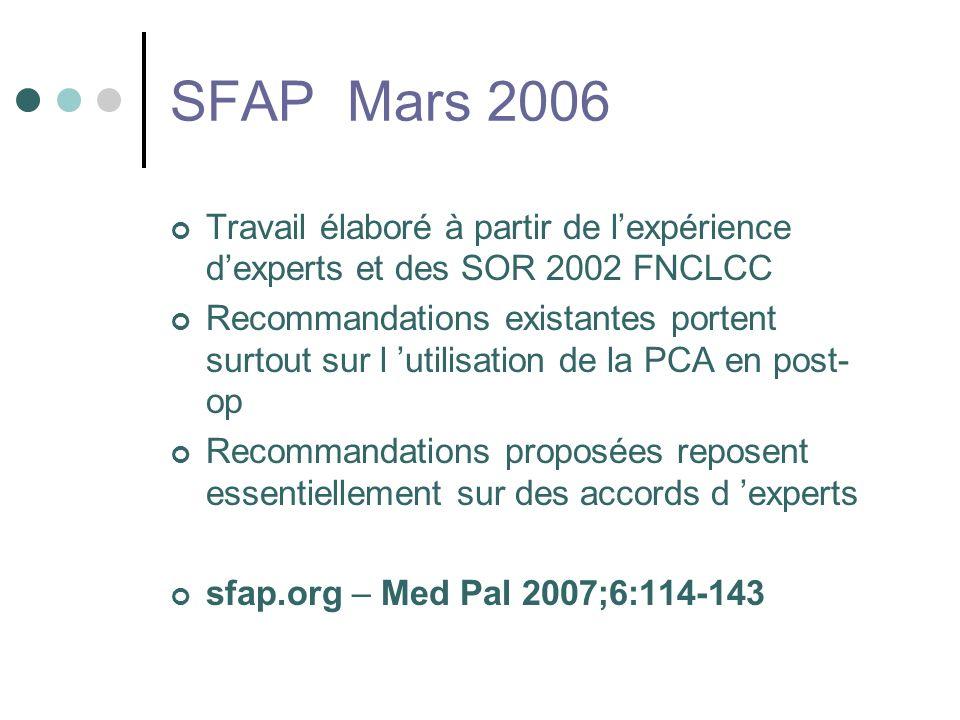 SFAP Mars 2006 Travail élaboré à partir de l'expérience d'experts et des SOR 2002 FNCLCC.