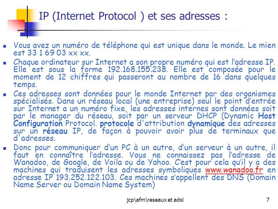 IP (Internet Protocol ) et ses adresses :