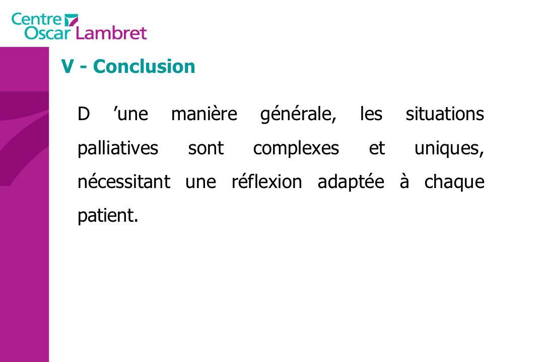 V - Conclusion D 'une manière générale, les situations palliatives sont complexes et uniques, nécessitant une réflexion adaptée à chaque patient.