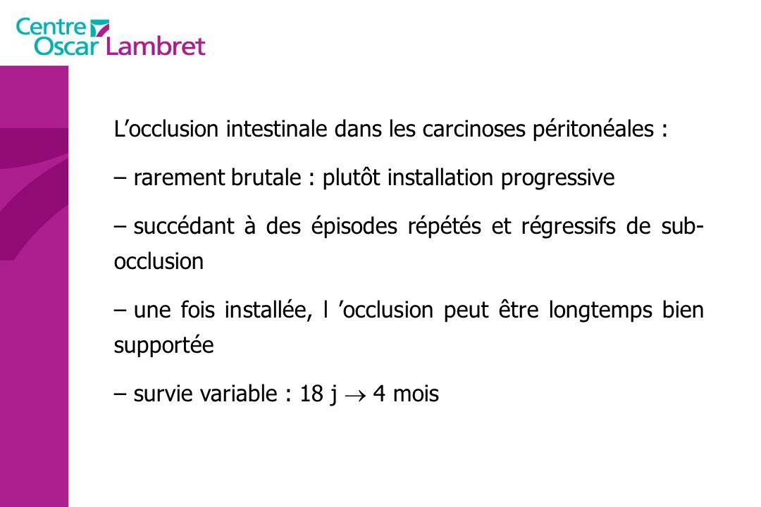 L'occlusion intestinale dans les carcinoses péritonéales :