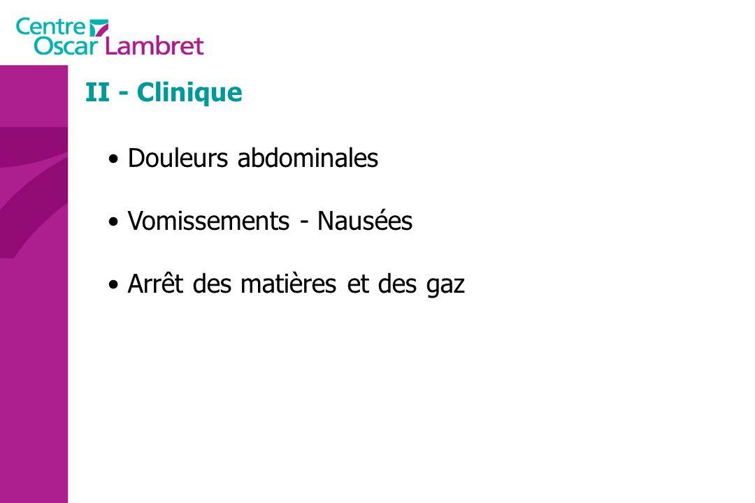 II - Clinique Douleurs abdominales Vomissements - Nausées Arrêt des matières et des gaz