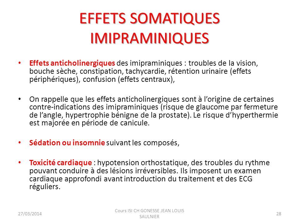 EFFETS SOMATIQUES IMIPRAMINIQUES