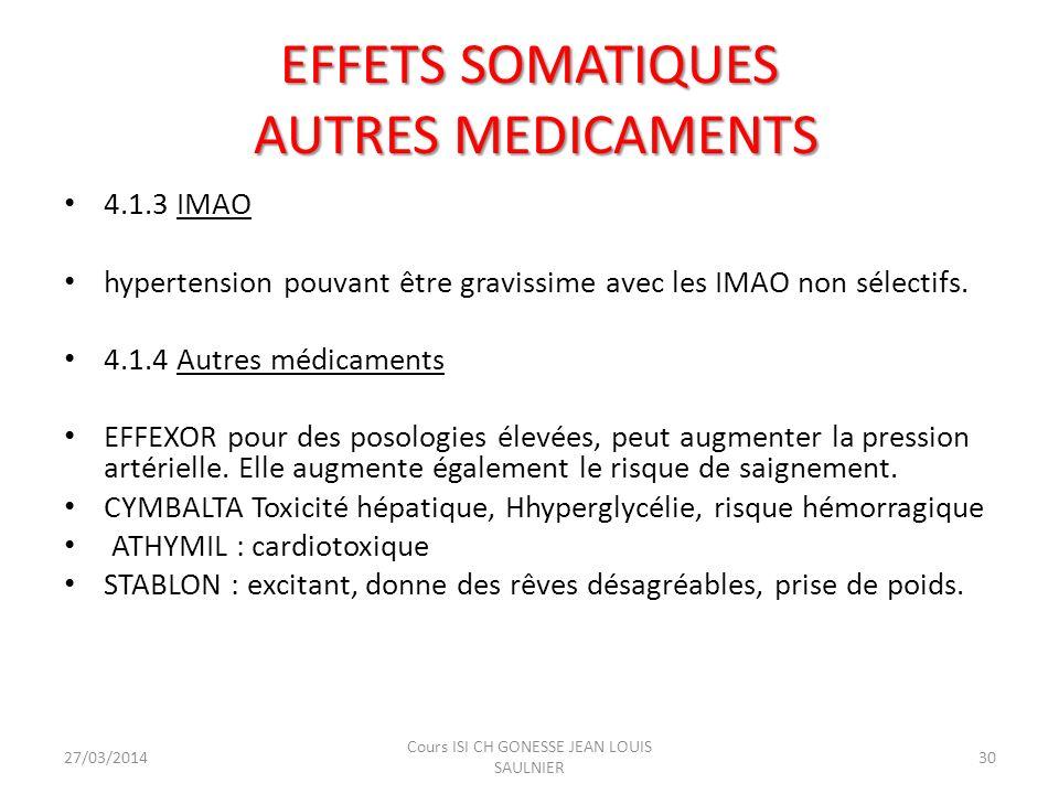 EFFETS SOMATIQUES AUTRES MEDICAMENTS