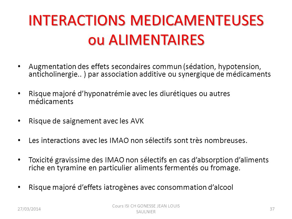 INTERACTIONS MEDICAMENTEUSES ou ALIMENTAIRES