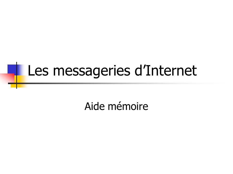 Les messageries d'Internet