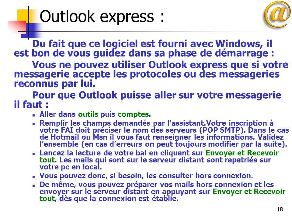 Outlook express : Du fait que ce logiciel est fourni avec Windows, il est bon de vous guidez dans sa phase de démarrage :