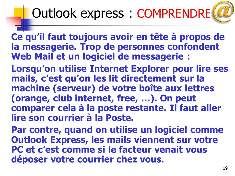 Outlook express : COMPRENDRE