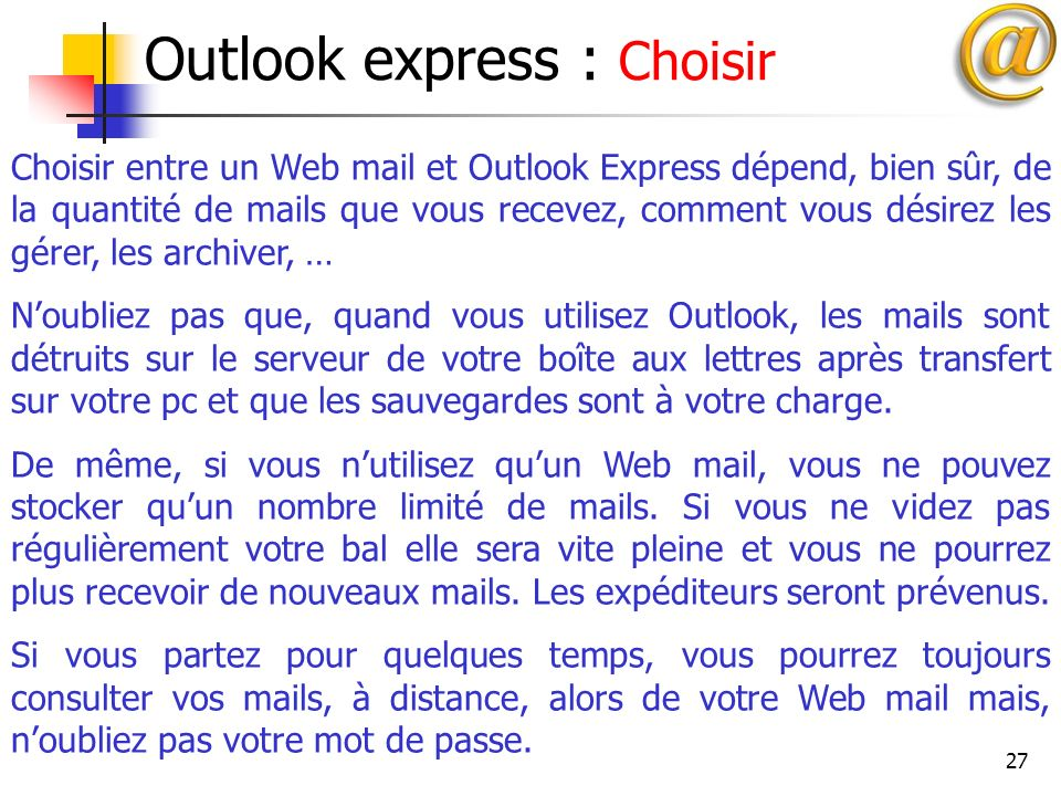 Outlook express : Choisir