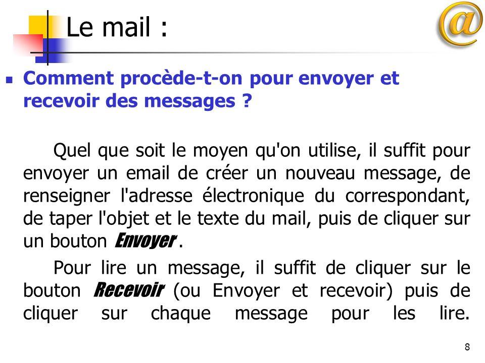 Le mail : Comment procède-t-on pour envoyer et recevoir des messages