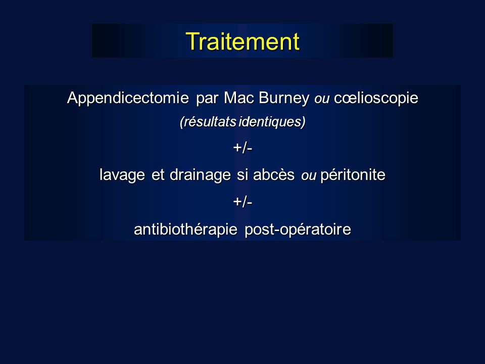 Traitement Appendicectomie par Mac Burney ou cœlioscopie +/-