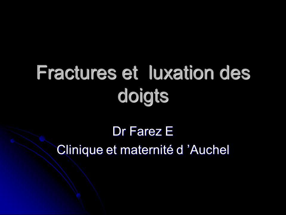 Fractures et luxation des doigts