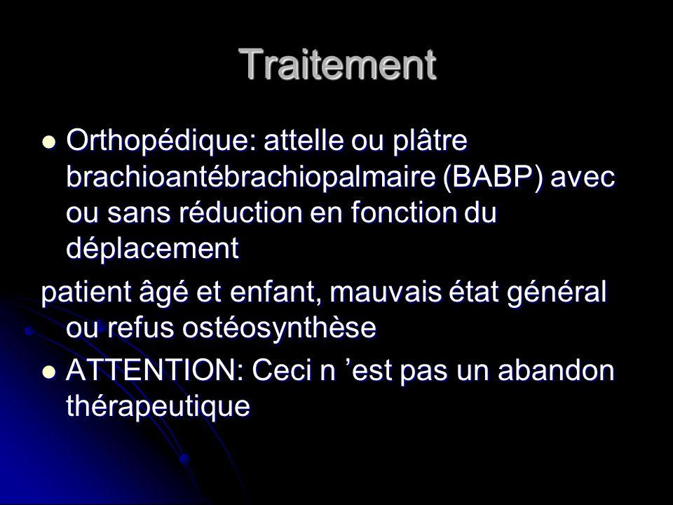 Traitement Orthopédique: attelle ou plâtre brachioantébrachiopalmaire (BABP) avec ou sans réduction en fonction du déplacement.