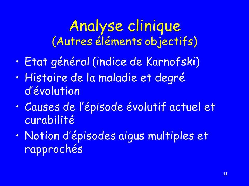 Analyse clinique (Autres éléments objectifs)