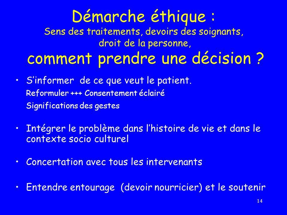 Démarche éthique : Sens des traitements, devoirs des soignants, droit de la personne, comment prendre une décision