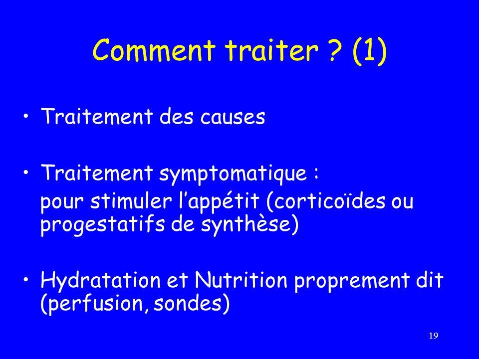 Comment traiter (1) Traitement des causes Traitement symptomatique :