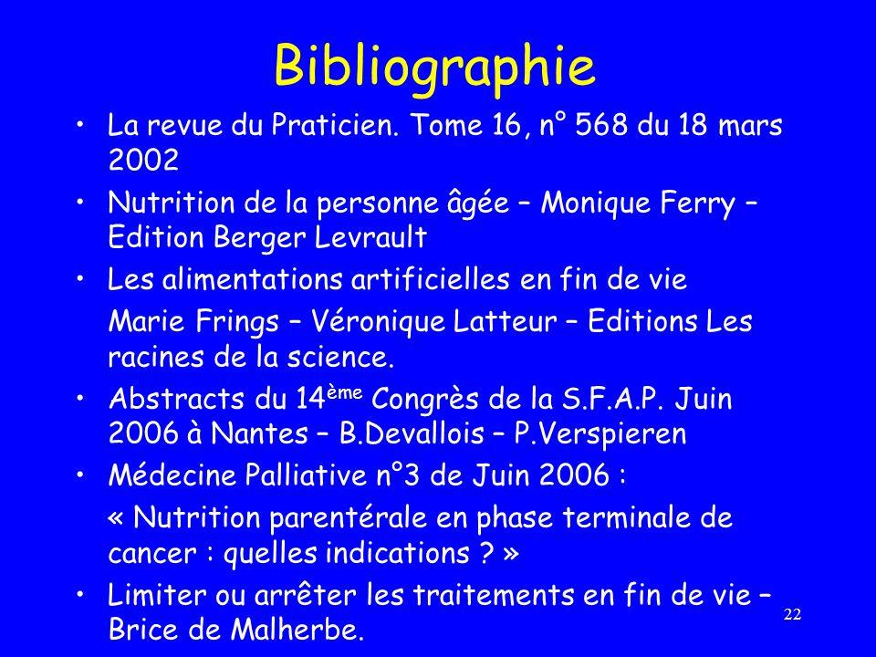 Bibliographie La revue du Praticien. Tome 16, n° 568 du 18 mars 2002