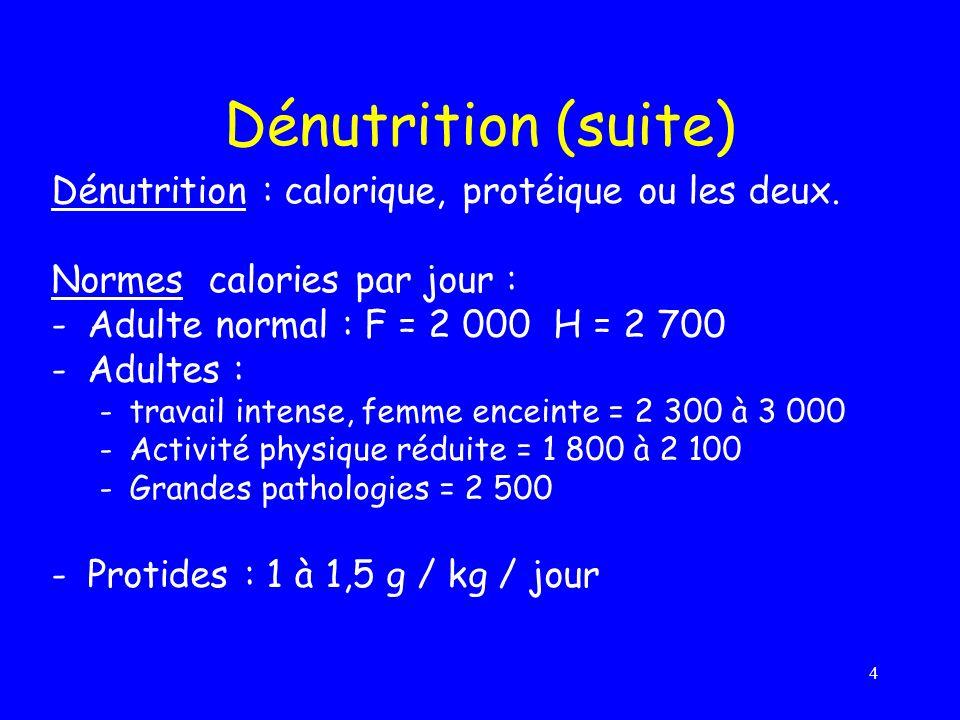 Dénutrition (suite) Dénutrition : calorique, protéique ou les deux.