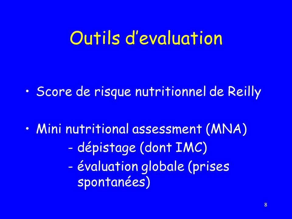 Outils d'evaluation Score de risque nutritionnel de Reilly