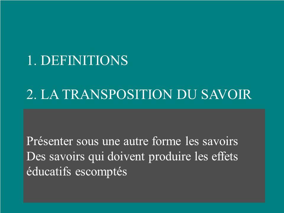 2. LA TRANSPOSITION DU SAVOIR