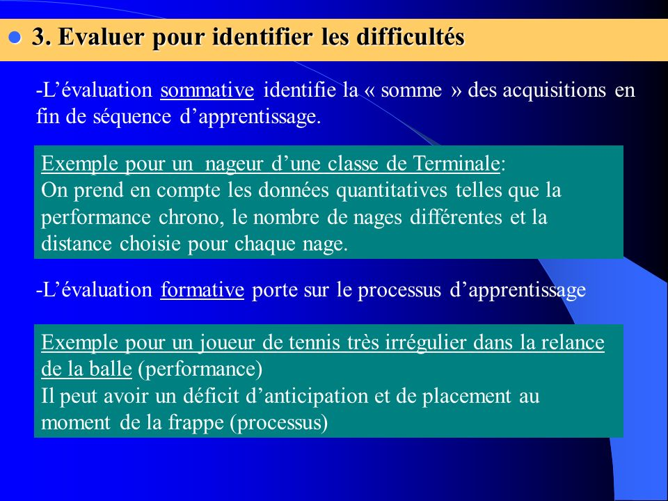 3. Evaluer pour identifier les difficultés