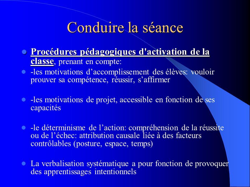 Conduire la séanceProcédures pédagogiques d activation de la classe, prenant en compte: