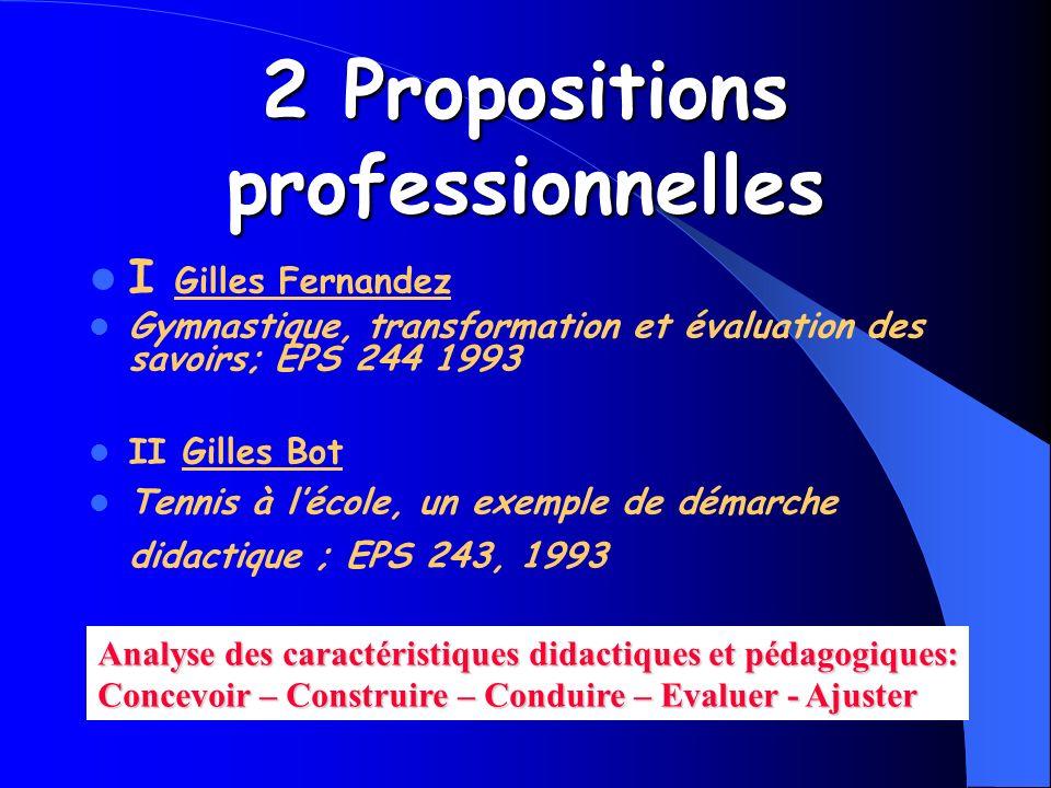 2 Propositions professionnelles