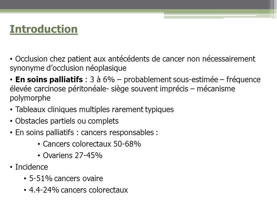 Introduction Occlusion chez patient aux antécédents de cancer non nécessairement synonyme d'occlusion néoplasique.