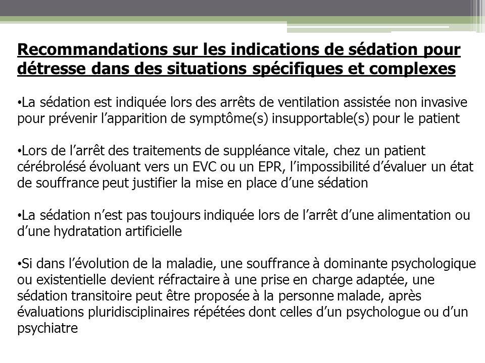 Recommandations sur les indications de sédation pour détresse dans des situations spécifiques et complexes