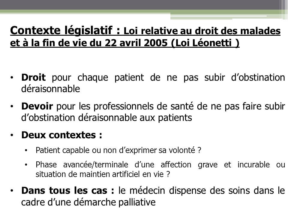 Contexte législatif : Loi relative au droit des malades et à la fin de vie du 22 avril 2005 (Loi Léonetti )