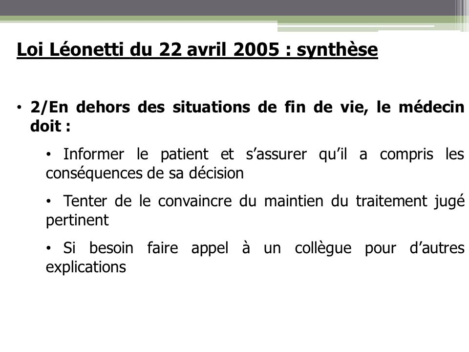 Loi Léonetti du 22 avril 2005 : synthèse