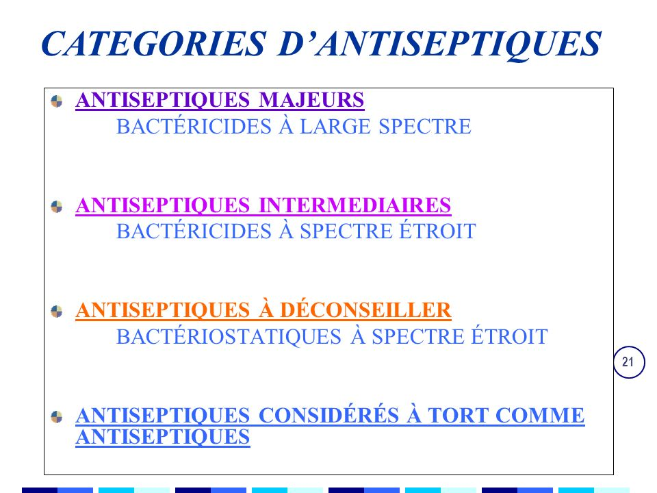 CATEGORIES D'ANTISEPTIQUES