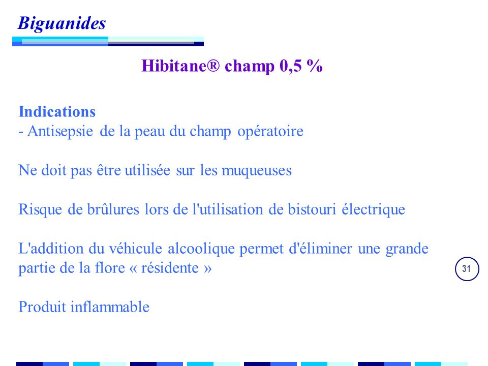 Biguanides Hibitane® champ 0,5 % Indications